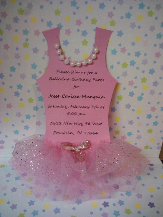 Pink Princess BALLERINA tutu party invitation by diapercake4less, $3.00