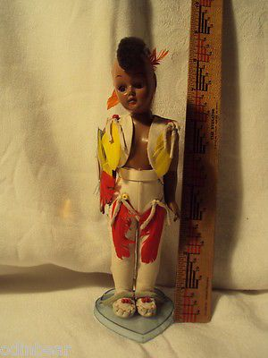 vintage-Antique-KNICKERBOCKER-INDIAN-DOLL-with-STAND-MOHAWK-BOY-MAN $30