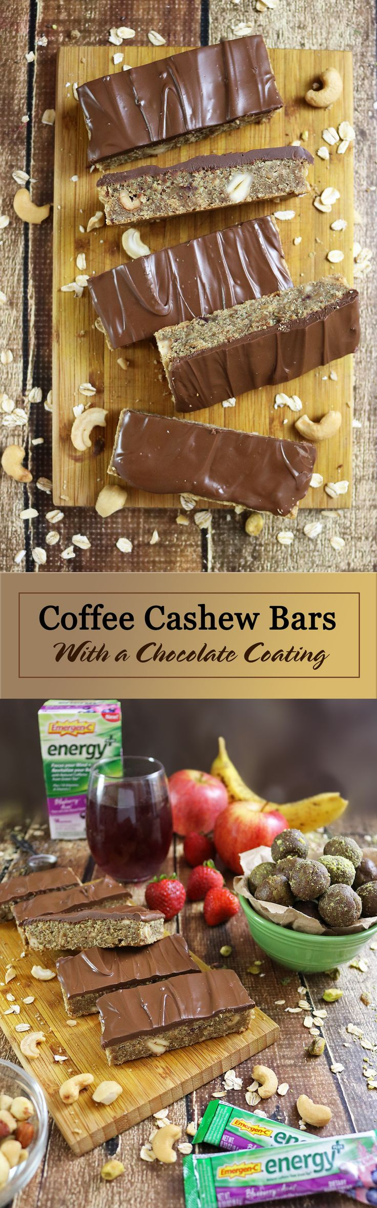 Coffee Cashew Bars With a chocolate coating and Emergen-C Energy+