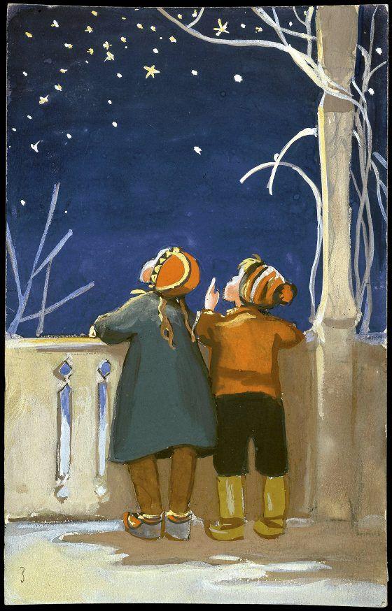 Tyttö ja poika ihailevat tähtitaivasta. Suomen Tuberkuloosin Vastustamis-yhdistys 1954. Martta Wendelin