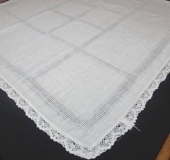 1960s White LINEN Tablecloth for Card or Bridge Table with