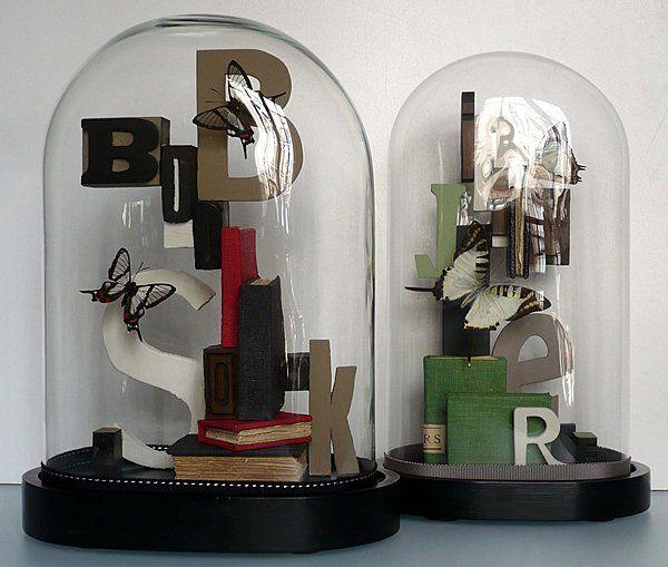 lettre monogramme sous cloche en verre