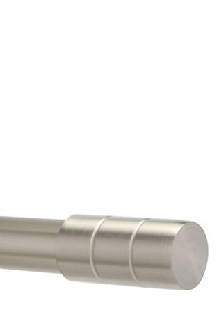 Brushed Silver Barrel 28mm Diameter Extendable Curtain Pole