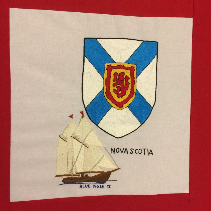 Nova Scotia, hand embroidered.