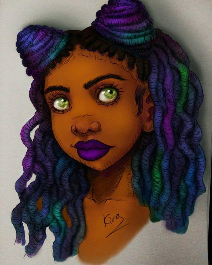 #14 #painted #color #digitalpainting #dreadlocks #kiratheartist #kira #blackwoman #inktober