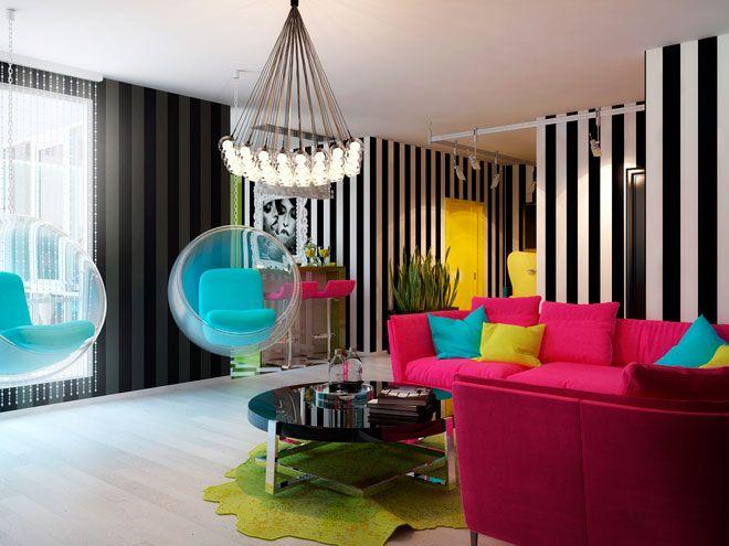 Гостиная - Дизайн интерьера квартиры в стиле Поп-арт Энди Уорхола