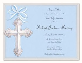 Beautiful blue background with a stunning silver cross on the front left that is designed with a gray coloring and accented with a silver foiling.  This is a perfect card for baptismal or for communion invtitations.  Comes with a white envelope.