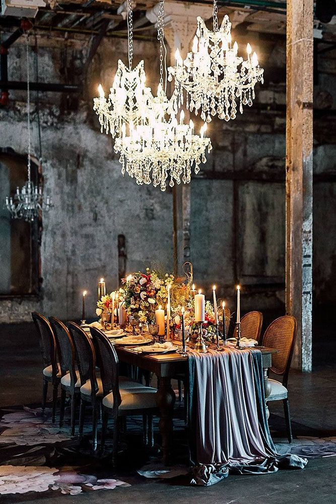 Dramatic lighting and table draping