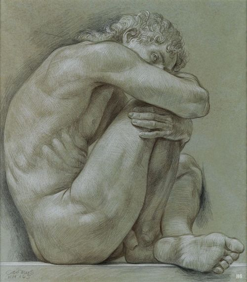 """Male Nude"" - Paul Cadmus (American (1904–1999), color crayon, male discreet nude figure fine art drawing, 1981. Good model pose. #arthistory <3"