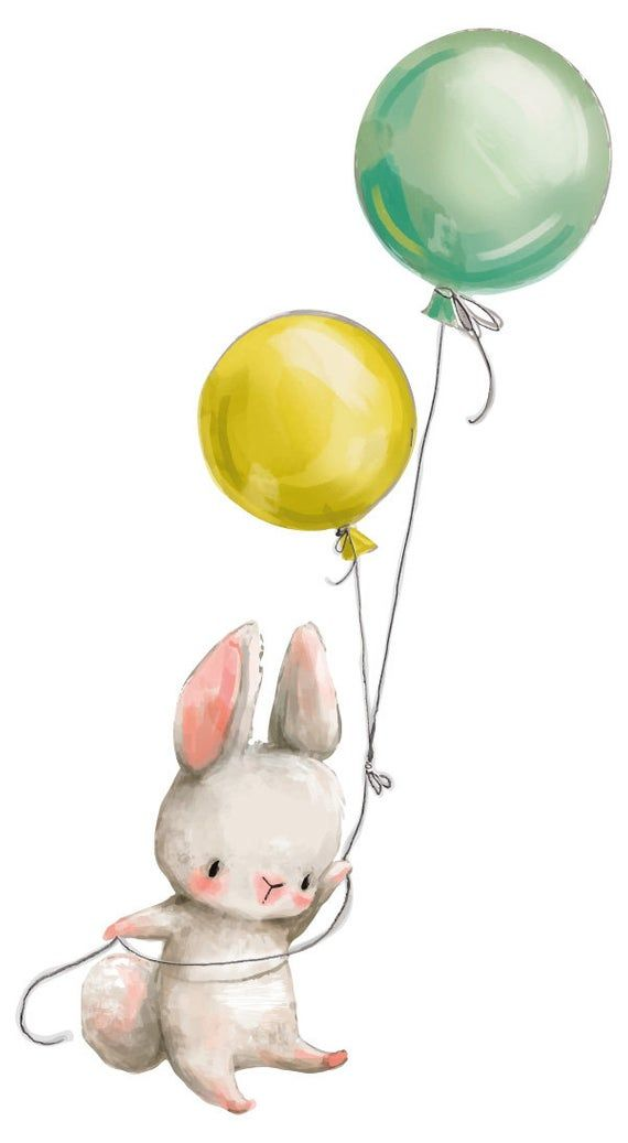 Wall Tattoo Nursery Watercolor Animals Baby Bunny With Balloons