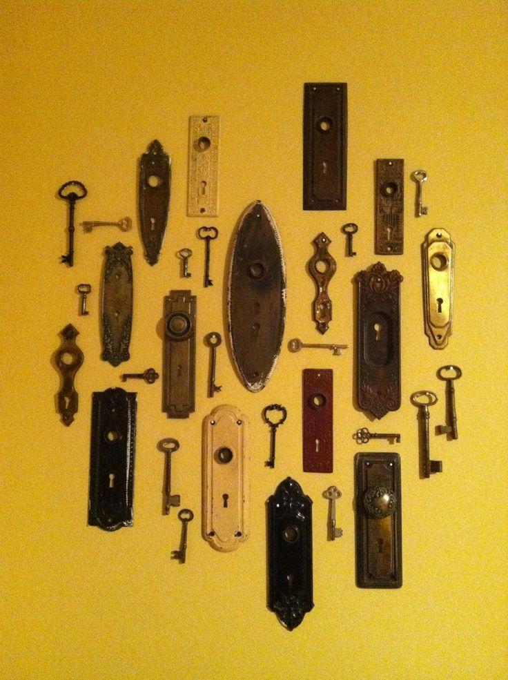 skeleton key wall  ideas | Antique key hole plate and skeleton keys wall art