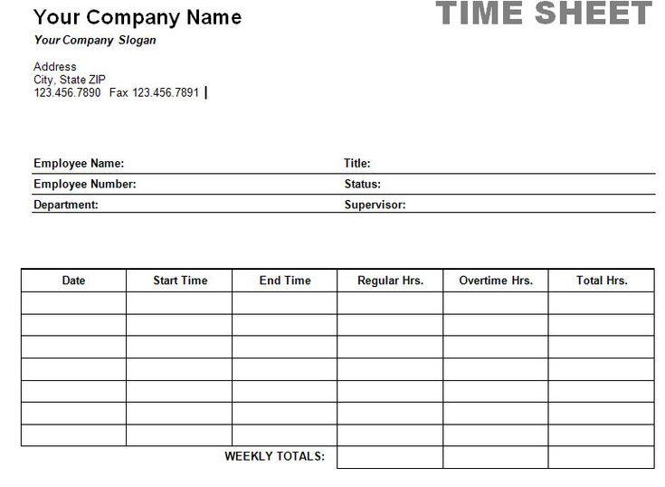 Timesheet TemplateTimesheet Calculator – Free Timesheet Forms