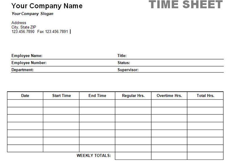 Free Printable Timesheet Templates | Printable Weekly Time Sheet screenshot