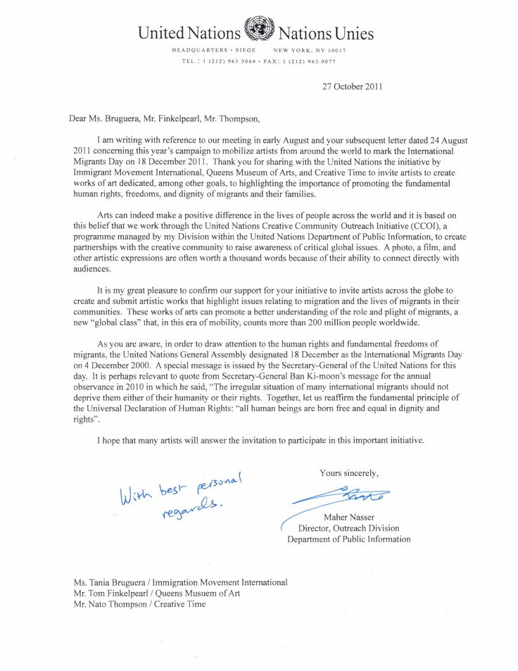 United Nations Official Letter Of Support For Dec