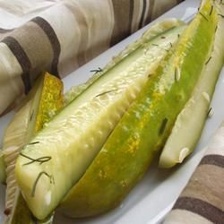 Spicy Refrigerator Dill Pickles Allrecipes.com....omit the sugar and they are the PERFECT dill pickle!