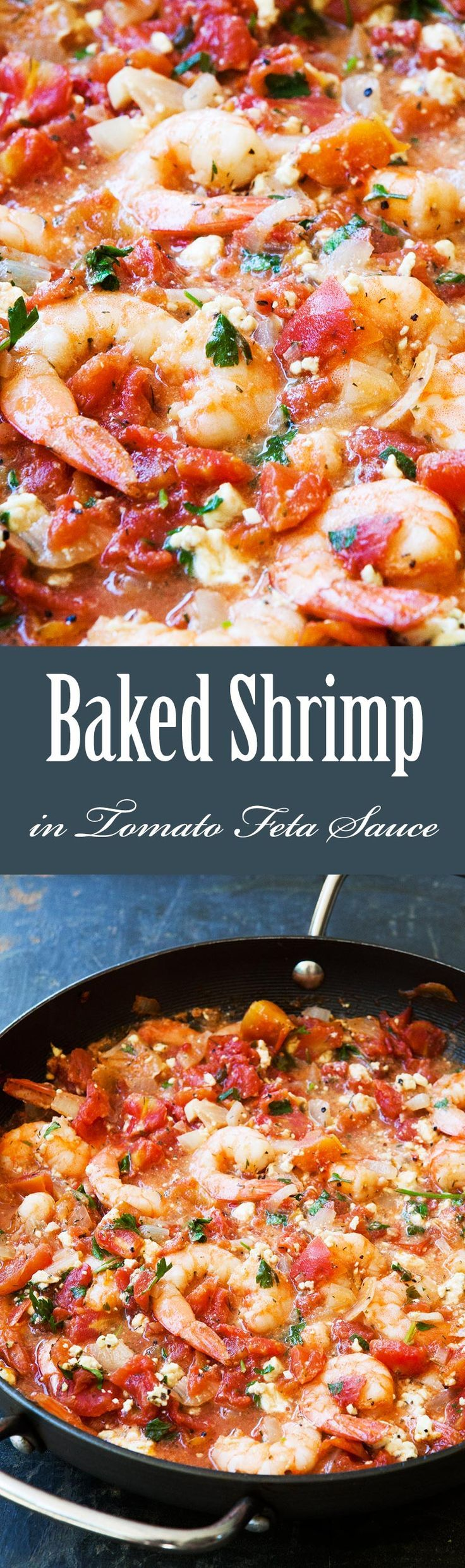 Quick, easy, ONE pot! Shrimp baked in tomato sauce with onions, garlic, and feta cheese. Takes 30 min to make. So GOOD!