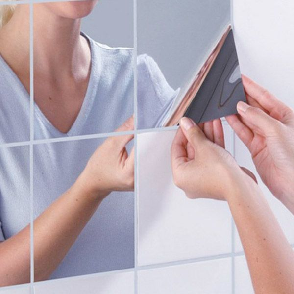 honana bx231 16pcs bathroom removeable mosaic tiles mirror wall stickers home