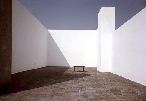 Roof terrace of Luis Barragán's residence in Tacubaya, Mexico. (1969) [Photo by René Burri]