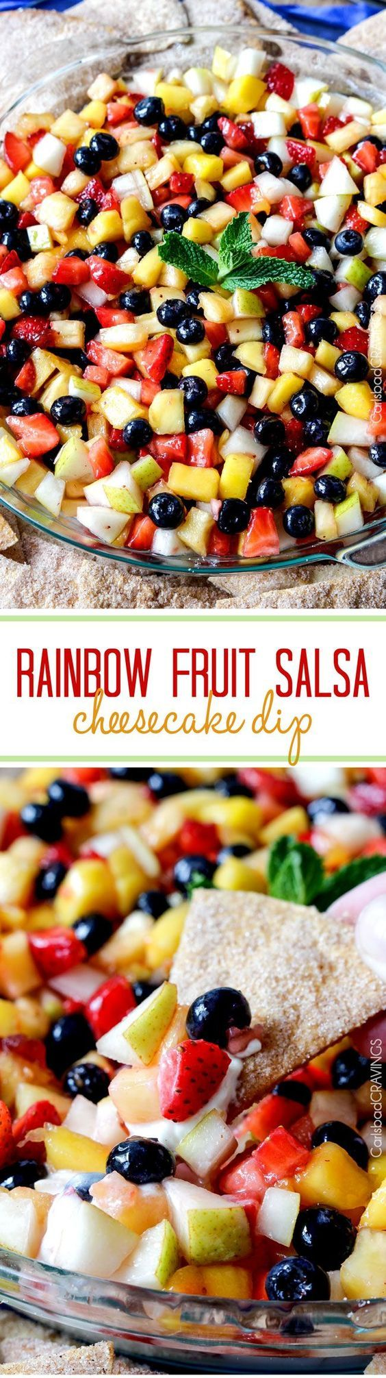 Light and refreshing Rainbow Fruit Salsa (No Bake) Cheesecake Dip (with Churro Chips) is the perfect make ahead dessert/appetizer that no one will be able to stop munching!: