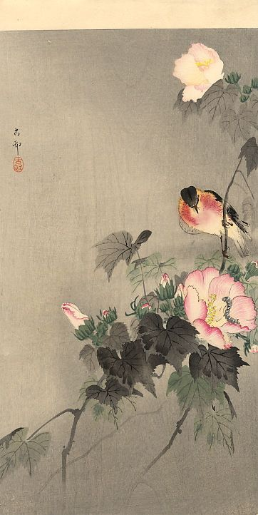 Stonechat and blossoming flower - Ohara Koson