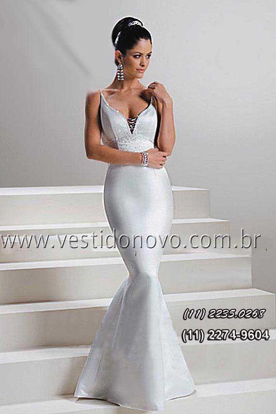 b56cc368c vestido sereia branco, decote em v cavado da CASA DO VESTIDO NOVO  www.vestidonovo