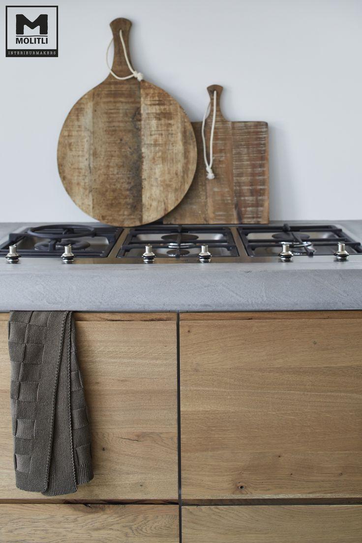 Door ons een op maat gemaakte keuken met een prachtige betonlook www.molitli-interieurmakers.nl