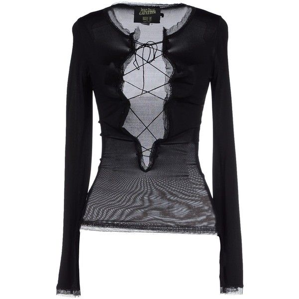 Jean Paul Gaultier Maille Femme T-shirt ($330) ❤ liked on Polyvore featuring tops, t-shirts, black, black long sleeve t shirt, long sleeve tops, black top, black t shirt and black long sleeve tee
