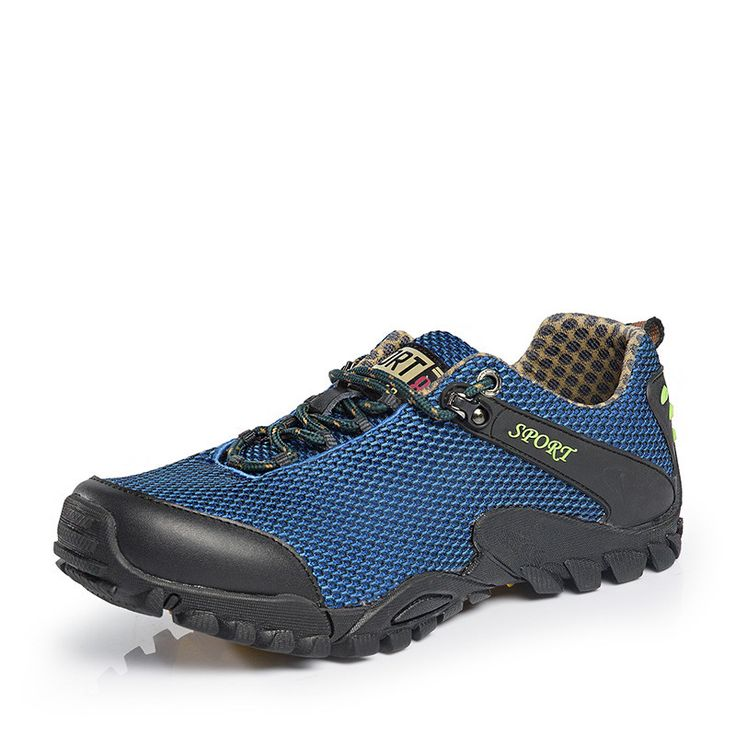 New Outdoor Breathable Air Mesh Shoes Men Lightweight Walking Lace-Up Shoes Man Wade Aqua Water Anti-Skid Slip-On Trekking Shoes