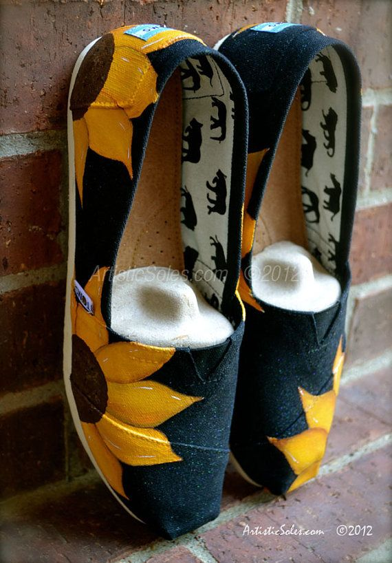 Sunflower Power Hand Painted Custom TOMS Shoes by ArtisticSoles