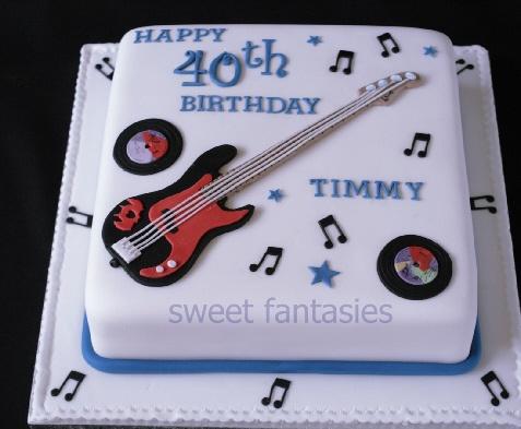 Square birthday cake with Sugar paste Bass Guitar