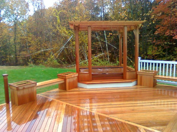 17 best images about decks on pinterest hot tub deck for Above ground pool decks with hot tub
