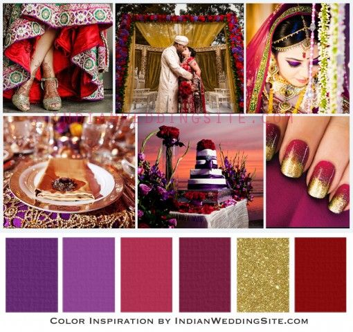 Amethyst Ruby Gold Indian Wedding Color Palette