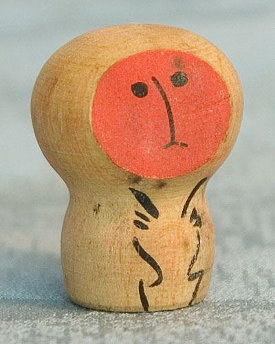Kokeshi Japanese Wooden Dolls - Monkey Ningyo Figurines.