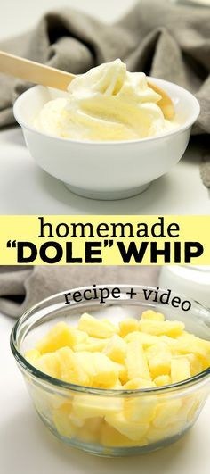 This Dole whip recipe, the pineapple soft serve, has only 2 main ingredients, and it's naturally gluten free and dairy free. Bring a taste of Disney home!