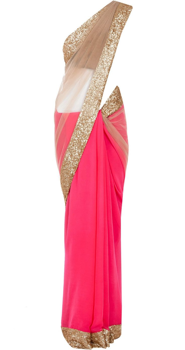 MANISH MALHOTRA Neon pink with nude net sari  Featuring a neon pink georgette and nude net sari with champagne sequin sheeted border.  It is teamed with a navy blue raw silk sleeveless blouse and butter crepe petticoat fabric.  COMPOSITION: Georgette, net, raw silk, butter crepe.