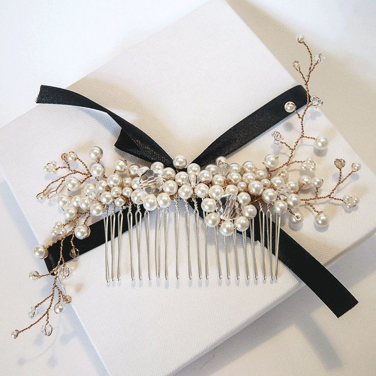 Harriet Rose Gold & Pearl Hair Comb by MoiBespoke on Etsy