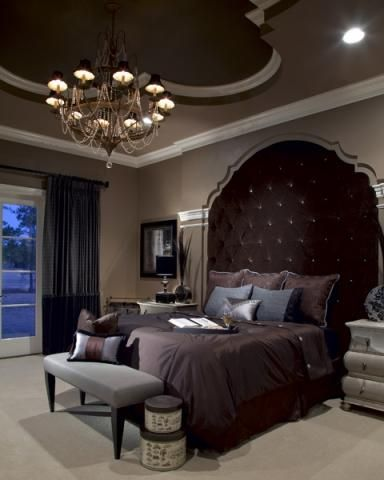 Master Bedroom ideas - dramatic, dark, palatial. large headboard for high ceilings,