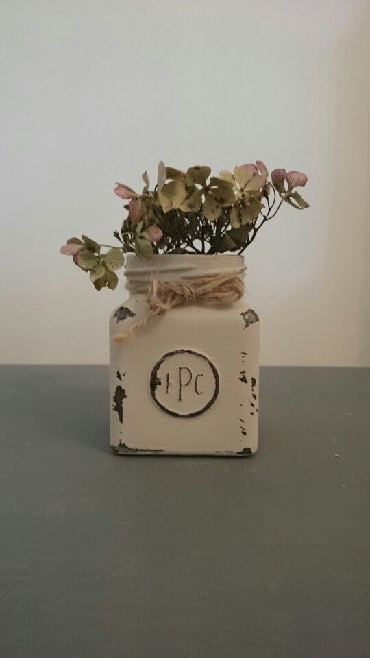 Vintage Style Shabby Chic upcycled Glass Jar Chalk Paint Ideas