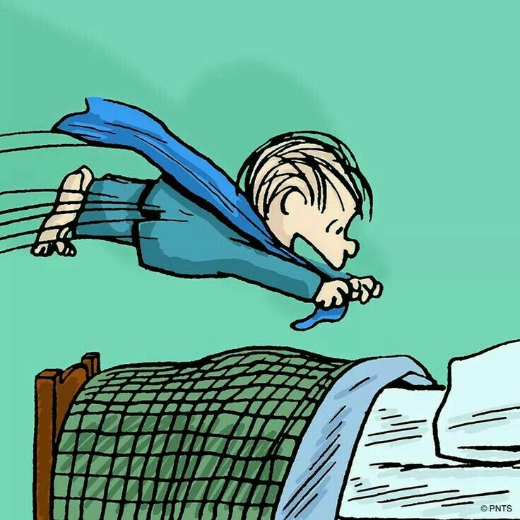 ✔ Good night!    (no words)   --Peanuts Gang/Linus