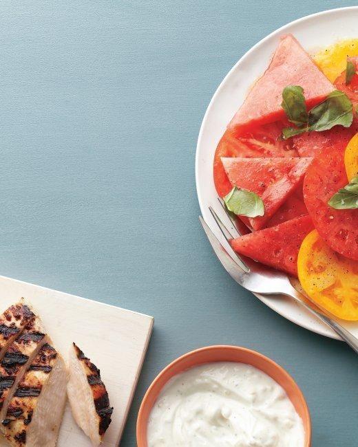 Yogurt-Marinated Chicken with Watermelon Salad Recipe -- The perfect light summer meal