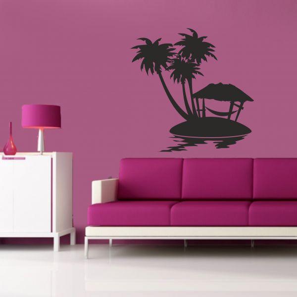 sticker mural hamac et palmier
