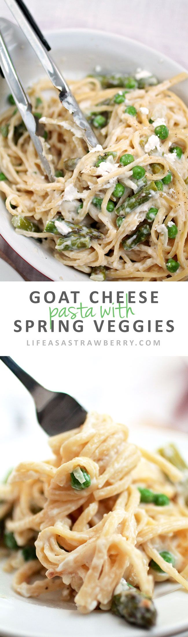 Goat Cheese Pasta with Spring Vegetables | This easy spaghetti recipe has a simple goat cheese sauce and plenty of healthy spring vegetables - the perfect pasta recipe for busy weeknights. Vegetarian.