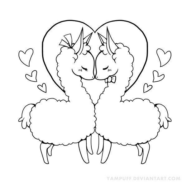 Love Llama Lineart by YamPuff on