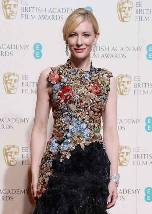 Cate Blanchett en boucles d'oreilles diamants Tiffany & Co aux BAFTAS