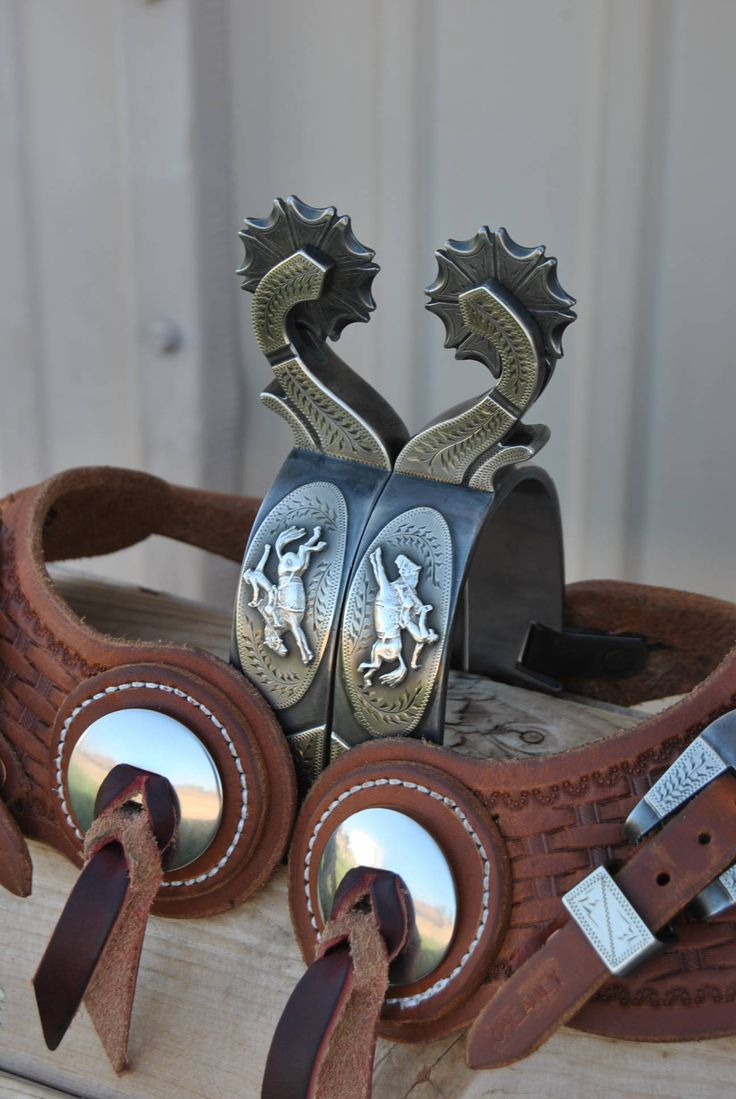 Handmade Silver Mounted Spurs w/ Straps - Pat Ray Castleberry