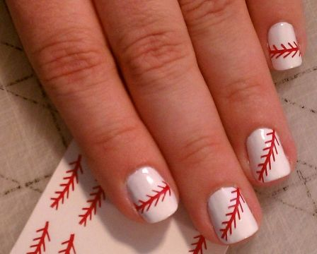 Baseball Nail Art for the gamessss ill be attending over the next 2 years haha so gay but funny