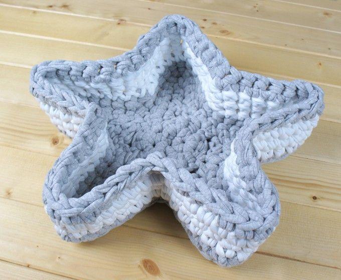 Cesta de trapillo con forma de estrella - MissDIY ☂ᙓᖇᗴᔕᗩ ᖇᙓᔕ☂ᙓᘐᘎᓮ http://www.pinterest.com/teretegui