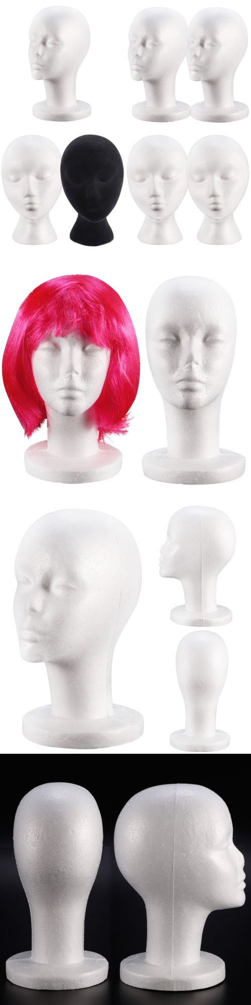 Wig and Extension Supplies: Polystyrene Female Mannequin Head Dummy Wig Stand Shop Display Hat Cap Patterns -> BUY IT NOW ONLY: $56.99 on eBay!