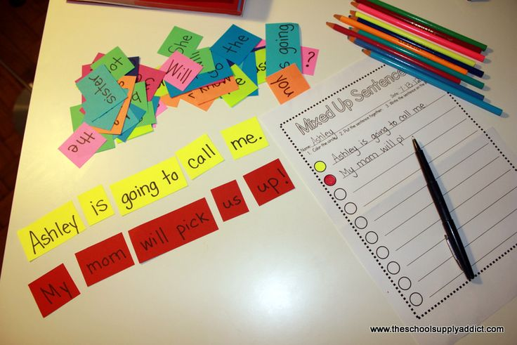"Create sentences on different color paper. The student puts the sentences in the correct order, then records the sentence & colors the circle beside the sentence to show which sentence he created. FREE printable for ""Mixed Up Sentences"""