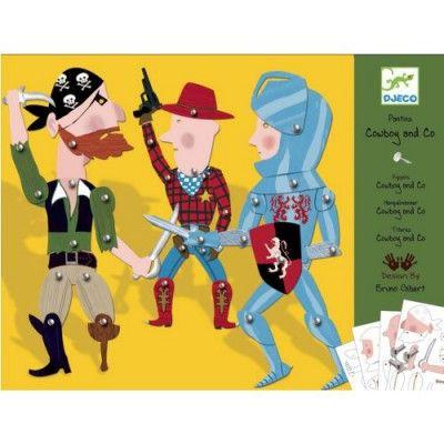 Djeco Set créatif Pantins : Cowboy & Co  - marque : Djeco Set créatif Pantins : Cowboy & Co... prix : 6,49 €  chez Avenue des Jeux #Djeco #AvenuedesJeux